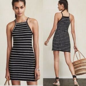 Reformation Rhodes Ribbed Dress Striped Tank S
